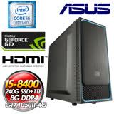 華碩TUF平台【諸王守護】 INTEL I5-8400六核心 240G SSD +1TB HDD GTX1050TI-4G 8G DDR4 550W 全新I5六核效能電玩娛樂電競燒錄主機
