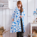 【Tiara Tiara】激安 拼貼風方格排釦綁帶長罩衫洋裝(藍)