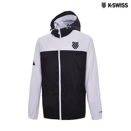K-Swiss Hoodie Windbreaker風衣外套-男-黑/白