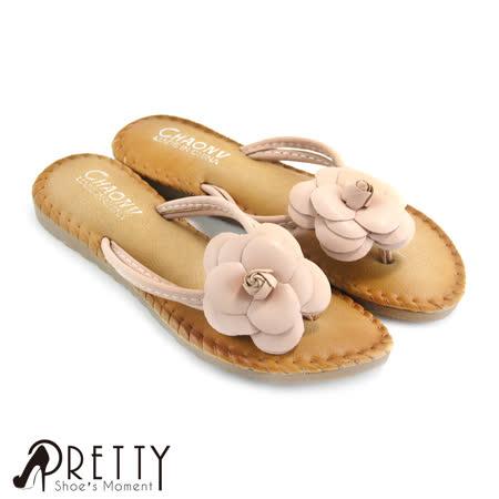 【Pretty】甜美山茶花平底夹脚拖鞋