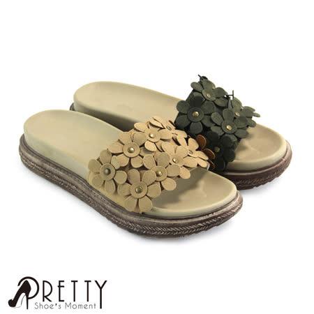 【Pretty】小花堆叠平底拖鞋
