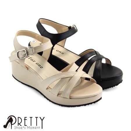 【Pretty】质感交叉侧勾釦系踝厚底凉鞋
