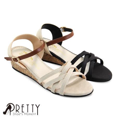 【Pretty】交错线条侧勾釦系踝楔型凉鞋