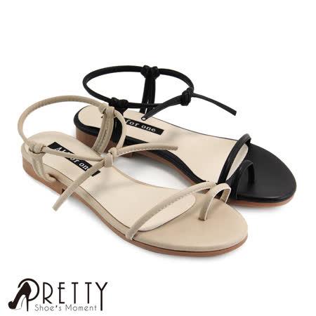 【Pretty】极简线条纽结套趾平底凉鞋