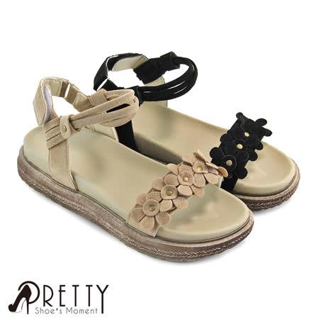 【Pretty】优雅花朵魔鬼毡平底凉鞋