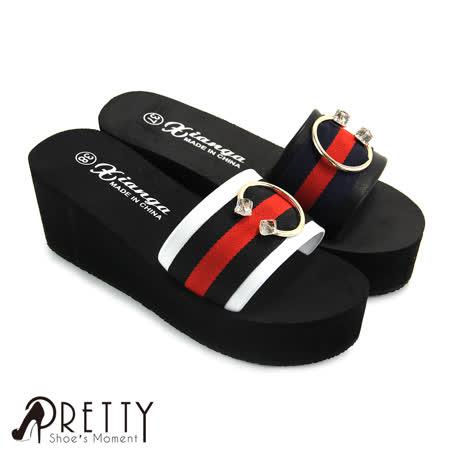 【Pretty】C字金属透明压克力宽带撞色厚底拖鞋