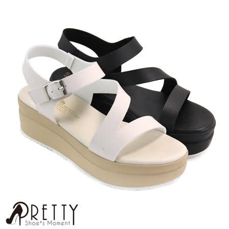 【Pretty】质感流线魔鬼毡系踝厚底凉鞋