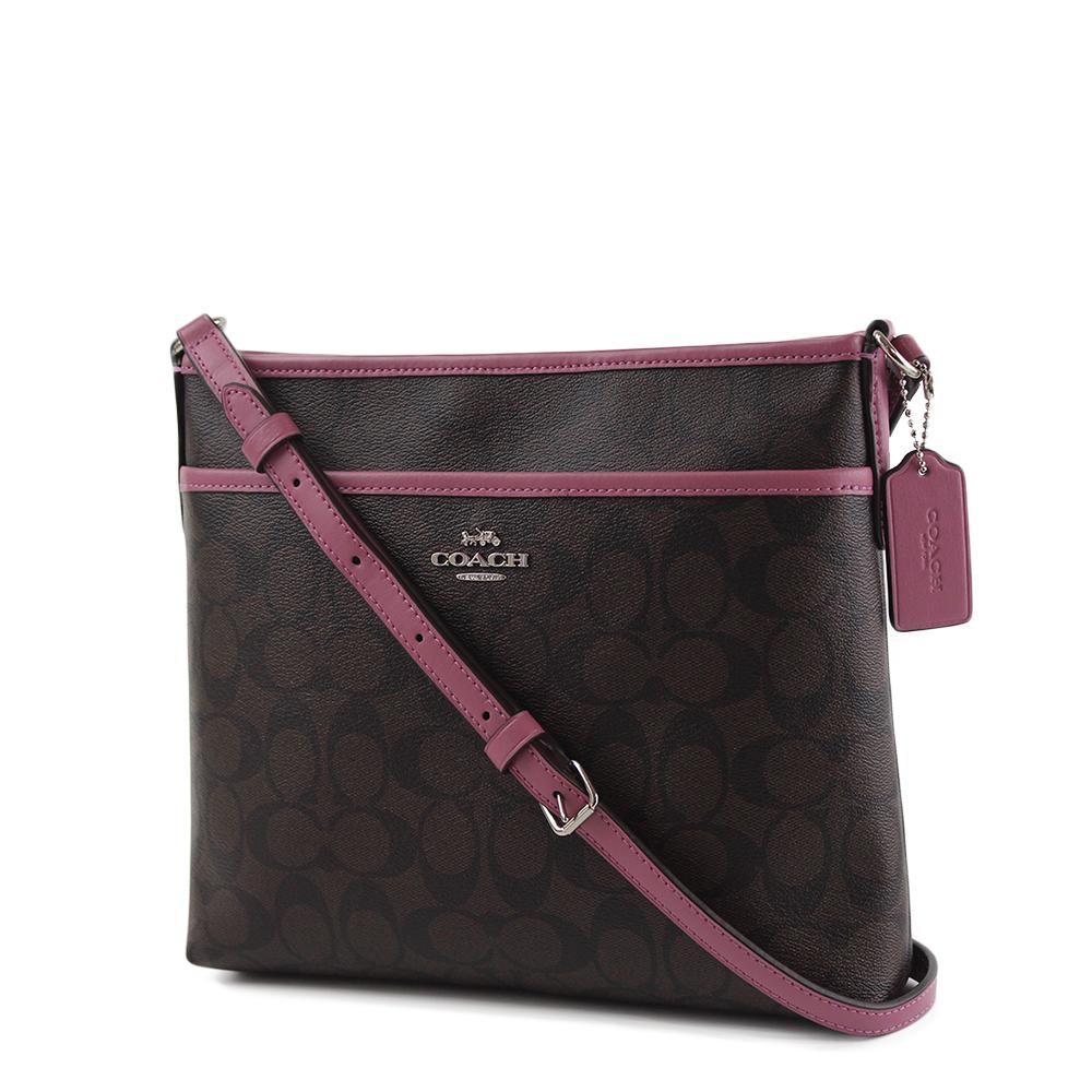 COACH 緹花LOGO防刮皮革前置物袋斜背包~小 杜鵑粉 咖啡色