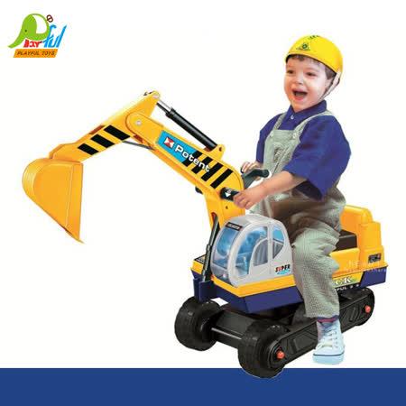 【Playful Toys 頑玩具】騎乘挖土機滑步車(騎乘挖土機滑步車 挖土機滑步車 幼兒學步車 仿真造型車 兒童玩具 怪手學步車 騎乘玩具 挖掘車)