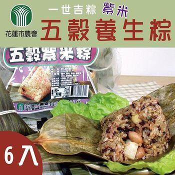 【花蓮市農會】 預購 紫米五穀養生粽 (約160g-粒-6粒-盒) 2盒組