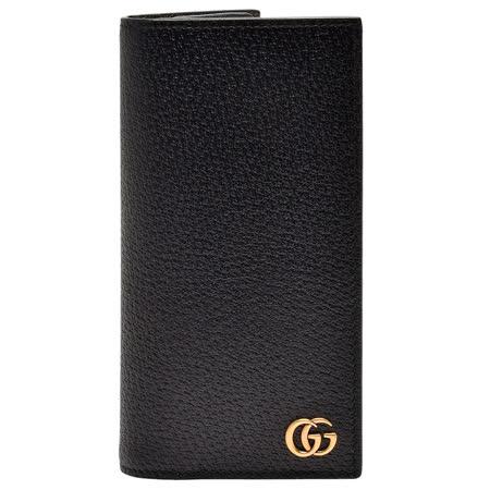 GUCCI 经典GG Marmont系列复古金属G LOGO压纹牛皮折叠长夹(黑-16卡)