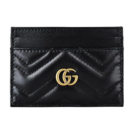 GUCCI经典Marmont系列双G复古金属LOGO牛皮W字纹卡片夹(黑)