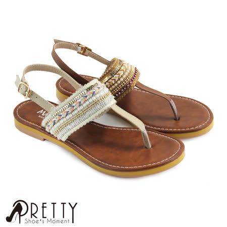 【Pretty】波希米亚风情绣线珠串拼接侧勾扣夹脚平底凉鞋