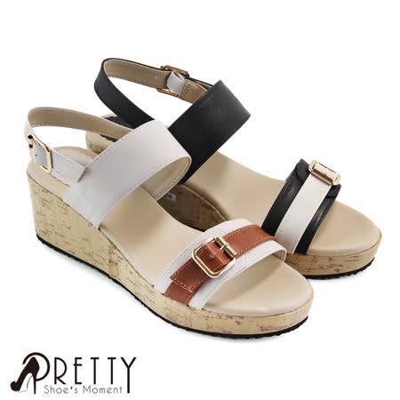 【Pretty】撞色一字皮釦装饰系踝中楔型凉鞋