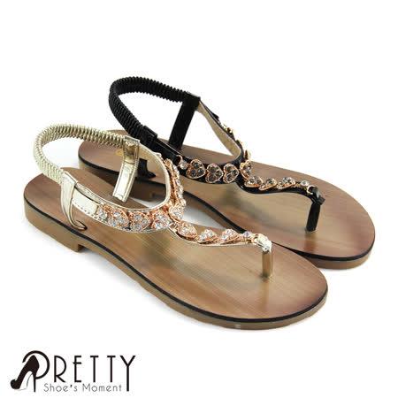【Pretty】爱心钻饰漆皮弹性松紧夹脚凉鞋