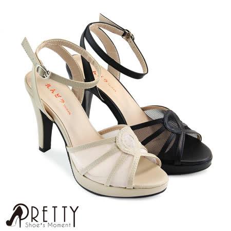 【Pretty】性感透肤网纱系踝鱼口细高跟凉鞋