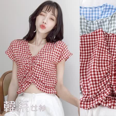 【韓系女衫】4色格格紋蝙蝠袖v領短版上衣