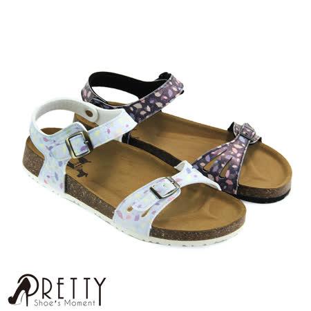 【Pretty】缤纷叶片金属饰扣魔鬼毡牛皮平底凉鞋