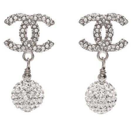 CHANEL 經典雙C LOGO碎鑽鑲嵌垂式水鑽圓球墜飾穿式耳環(銀)