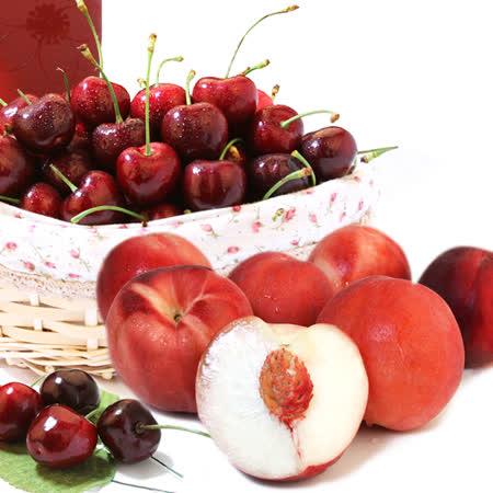 【愛上水果】經典不敗櫻桃/水蜜桃禮盒組(西北櫻桃1.5kg+加州水蜜桃6顆)