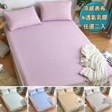 【HOYACASA】創新雙人可水洗乳膠涼蓆枕套三件組-任選二入