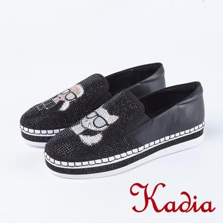 Kadia.懶人鞋-造型玩偶水鑽休閒鞋(8025-90黑)