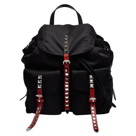 PRADA 经典三角铁牌LOGO双色皮革饰边铆钉镶嵌束口穿釦/磁釦双口袋尼龙后背包(黑X红)