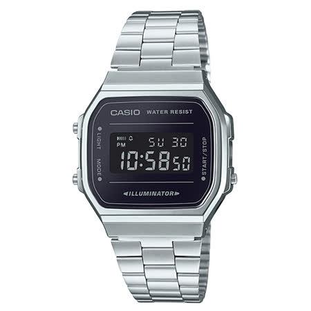 CASIO 卡西歐 電子錶 復古經典電子男錶 不鏽鋼錶 生活防水 碼錶功能 A168WEM-1D