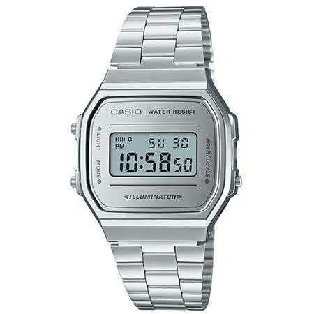 CASIO 卡西歐 電子錶 復古經典電子男錶 不鏽鋼錶 生活防水 碼錶功能 A168WEM-7D