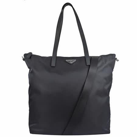PRADA 三角LOGO尼龙帆布两用托特购物包.深蓝