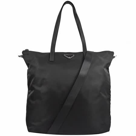 PRADA 三角LOGO尼龙帆布两用托特购物包.黑