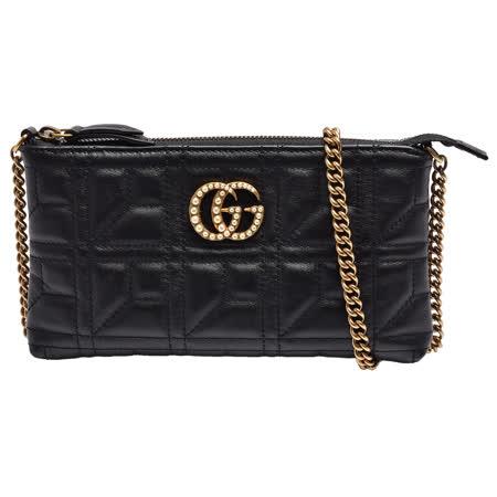 GUCCI GG Marmont mini绗缝纹牛皮金属双G LOGO珍珠镶嵌肩/斜背包(迷你-黑)