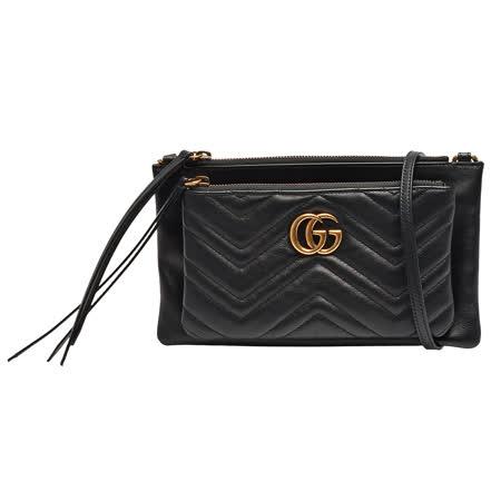 GUCCI 经典GG Marmont系列金属双G LOGO绗缝纹牛皮手拿/斜背可拆式子母包(黑)