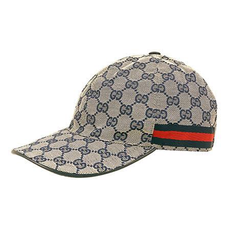 GUCCI经典双G LOGO缇花布绿红织带设计魔鬼毡棒球帽(M/L/米蓝)