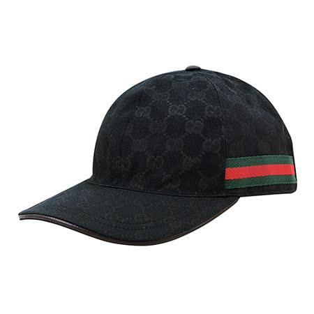 GUCCI经典双G LOGO缇花布绿红织带设计魔鬼毡棒球帽(M/L/黑)