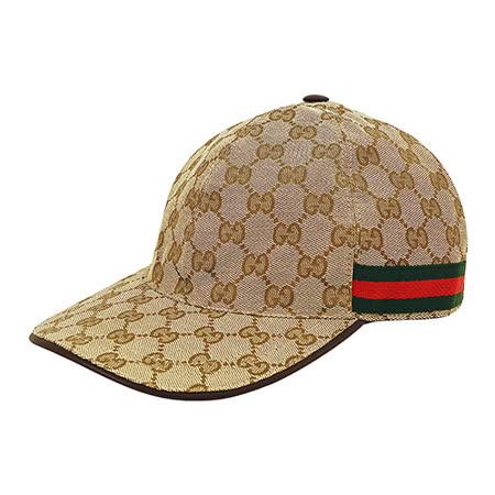 GUCCI经典双G LOGO缇花布绿红织带设计魔鬼毡棒球帽(M/L/米咖啡)