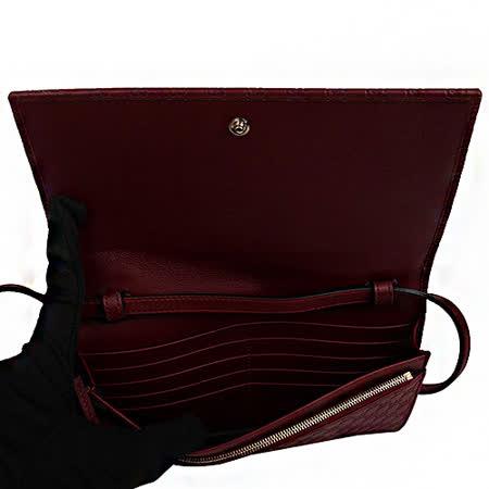 GUCCI - 小双G LOGO皮革可拆式长夹/斜背包(红)