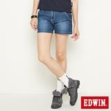 EDWIN MISS 寬版牛仔短褲-女-石洗藍