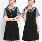 【麗質達人】5878條紋拼接洋裝(L-5XL)