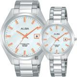 ALBA雅柏 城市情人時尚對錶-珍珠貝x銀/42+32mm VJ42-X250S+VJ22-X280S
