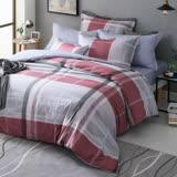 GOLDEN TIME-經典英倫-200織紗精梳棉-兩用被床包組(紅-雙人)