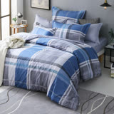 GOLDEN TIME-經典英倫-200織紗精梳棉兩用被套床包組(藍-單人)