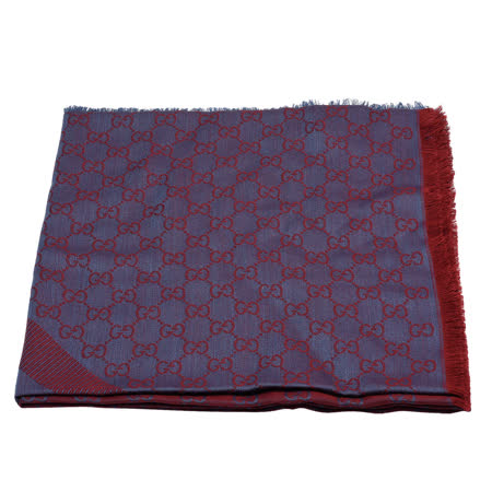 GUCCI 经典GG缇花线条羊毛混丝斜纹双色流苏披巾/围巾(紫X红)