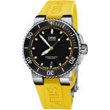 ORIS 豪利時 Aquis 時間之海潛水機械錶-黑x黃色錶帶/43mm 0173376534127-0742633EB