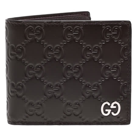 GUCCI 经典Signature系列GG压纹银色金属LOGO牛皮折叠短夹(咖啡-8卡)