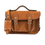 【The Leather Satchel Co.】11吋 英國手工牛皮劍橋包 手提包 肩背 側背包 多功能兩用包 精湛工藝 新款磁釦設計方便開啟(原色淺咖啡)
