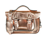 【The Leather Satchel Co.】11吋 英國手工牛皮劍橋包 手提包 肩背 側背包 多功能兩用包 精湛工藝 新款磁釦設計方便開啟(玫瑰金)
