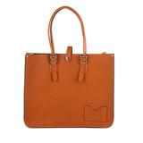 【The Leather Satchel Co.】英國原裝手工牛皮寬版托特包 手提包 肩背包 壓釦設計 手把可調整長度 精湛工藝 (倫敦棕)