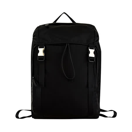 PRADA经典银三角LOGO铁牌尼龙釦式束口后背包(黑)