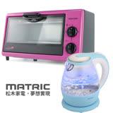 【松木MATRIC】電烤箱(8L)MG-DV0803F+玻璃快煮壺(1.5L)MG-KT1501
